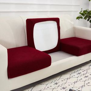 High Stretch Velvet Jacquard Seat Cushion Cover Sofa Cushion Furniture Protector Burgundy