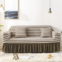 Seersucker Sofa Slipcover with Skirt Universal Stretch Sofa Couch Slipcover Brown Stripe