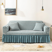 Seersucker Sofa Slipcover with Skirt Universal Stretch Sofa Couch Slipcover Blue Stripe