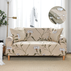 Water Repellent Printed Sofa Cover Stretch Couch Cover Sofa Slipcovers for Couche and Loveseat Ivory