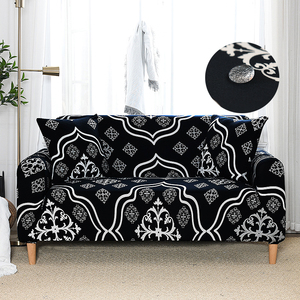 Water Repellent Printed Sofa Cover Stretch Couch Cover Sofa Slipcover for Couches and Loveseat Black