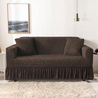 Seersucker Sofa Slipcover with Skirt Universal Stretch Sofa Couch Slipcover Chocolate
