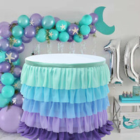 14FT Mermaid 5 Layer Tulle Tutu Table Skirts