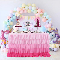 6ft Tulle Table Skirt 5 Tier Pink Gradient Tablecloth Tutu Chiffon Table Skirting
