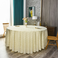 120inch Ivory Classic Damask Jacquard Tablecloth Polyester Fabric Table Cover