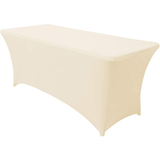 Spandex Tablecloths for 6 ft Home Rectangular Table Fitted Stretch Table Cover Ivory