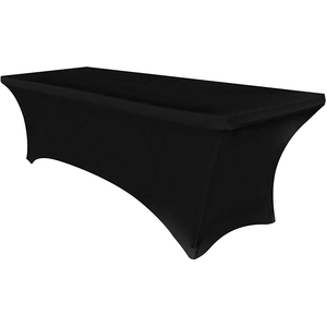 Spandex Tablecloths for 6ft Home Rectangle Rectangular Table Fitted Stretch Table Cover Black