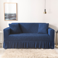 Seersucker Sofa Slipcover with Skirt Universal Stretch Sofa Couch Slipcover Navy