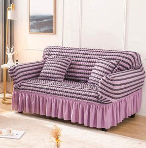 Seersucker Sofa Slipcover with Skirt Universal Stretch Sofa Couch Slipcover Purple