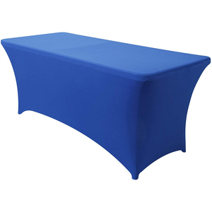 Spandex Tablecloths for 6ft Home Rectangle Rectangular Table Fitted Stretch Table Cover Royal Blue