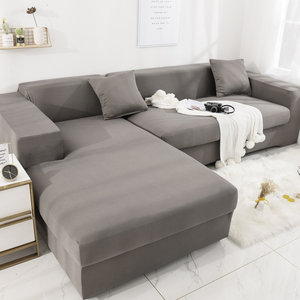 Brushed Stretch Sectional Couch Covers Soft L-Shaped Sofa Slipcovers with Elastic Bottom Grey
