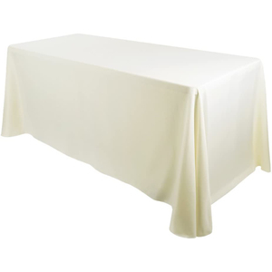 "90""x132"" Premium Tablecloth for Wedding/Banquet/Restaurant - Polyester Fabric Table Cloth - Ivory"