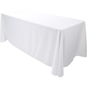 "90""x132"" Premium Tablecloth for Wedding/Banquet/Restaurant - Polyester Fabric Table Cloth - White"