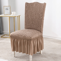 Stretch Seersucker Dining Chair Covers Chair Slipcovers with Ruffled Skirt Light Brown