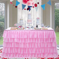 6FT Pink 5 Layer Tulle Tutu Table Skirts
