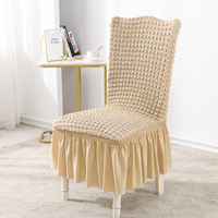 Stretch Seersucker Dining Chair Covers Chair Slipcovers with Ruffled Skirt Ivory