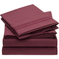 Burgundy Bed Sheet Set With Embroidery Border Brushed Microfiber Flat Sheet Fitted Sheet 4 Piece