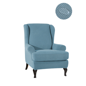 Stretch Wingback Chair Sofa Slipcover Sofa Cover Furniture Protector Couch Soft with Elastic Blue