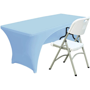 Open Back Spandex Table Cover 6ft Fitted Polyester Tablecloth Stretch Spandex Table Cover Sky Blue