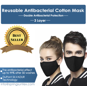 Reusable Washable Silvadure Antibacterial Cotton Knitted Fashion Sports Mask