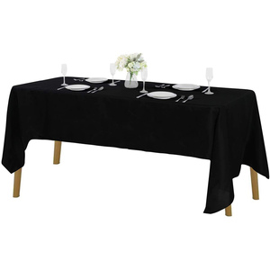 "60""x102"" Premium Tablecloth for Wedding/Banquet/Restaurant - Polyester Fabric Table Cloth - Black"