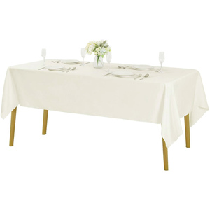 "60""x102"" Premium Tablecloth for Wedding/Banquet/Restaurant - Polyester Fabric Table Cloth - Ivory"