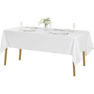 "60""x102"" Premium Tablecloth for Wedding/Banquet/Restaurant - Polyester Fabric Table Cloth - White"