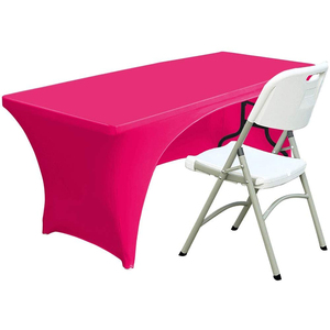 Open Back Spandex Table Cover 6ft Fitted Polyester Tablecloth Stretch Spandex Table Cover Fushia