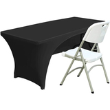 Open Back Spandex Table Cover 6ft Fitted Polyester Tablecloth Stretch Spandex Table Cover Black