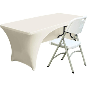 Open Back Spandex Table Cover 6ft Fitted Polyester Tablecloth Stretch Spandex Table Cover Ivory