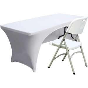 Open Back Spandex Table Cover 6ft Fitted Polyester Tablecloth Stretch Spandex Table Cover White
