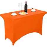 Spandex Table Cover 4 ft Orange,Rectangular Stretch Fitted Table Cover or Tablecloth for 4ft Table