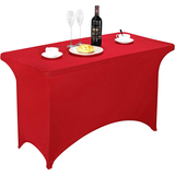 Spandex Table Cover 4 ft Red,Rectangular Stretch Fitted Table Cover or Tablecloth for 4ft Table