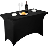 Spandex Table Cover 4 ft Black,Rectangular Stretch Fitted Table Cover or Tablecloth for 4ft Table