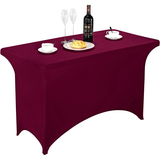 Spandex Table Cover 4 ft Burgundy,Rectangular Stretch Fitted Table Cover or Tablecloth for 4ft Table